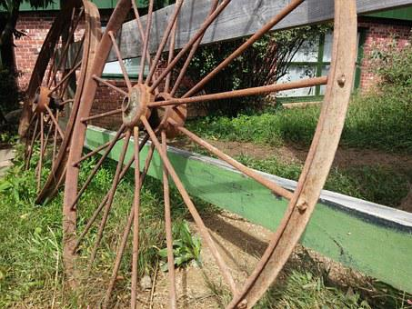 Wheel, Cart, Old, Vintage, Wagon, Metal, Summer, Rural
