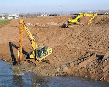 Levee, Excavator, Work, River, San Bonifacio, Italy