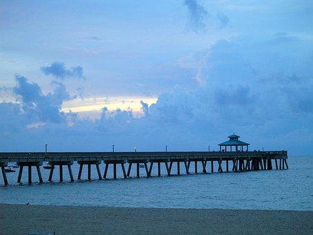 Pier, Fishing, Atlantic Ocean, Sunrise, Sea, Shore