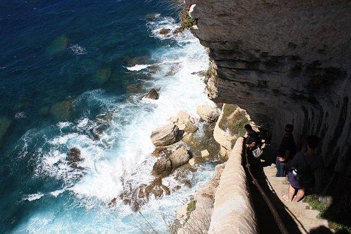 Corsica, Bonifacio, France, Rock, Sea, Stairs