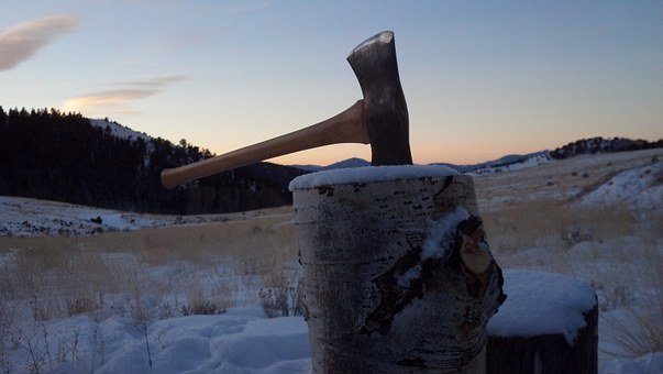 Axe, Sunrise, Split Wood, Stump, Snow, Dawn, Firewood