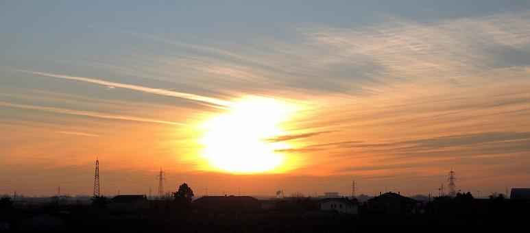 Sunset, Sun, Clouds, San Bonifacio, Italy, Trellises
