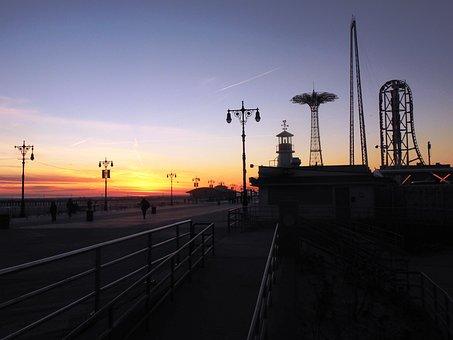 New York, Sunset, Color, Mood, Clouds, Sky, Sun, Orange
