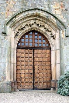 Door, Castle, Walls, Gatehouse, Wood, Gothic, Old