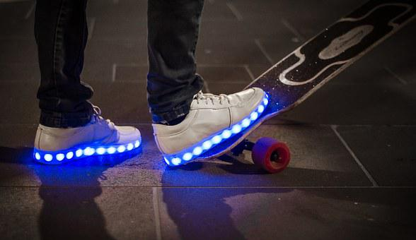 Skateboard, Youth, Urban, Lights, Shoes, Rolling