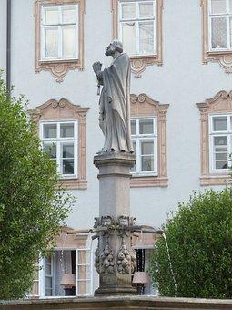 Fountain, Statue, Saint Rupert, Baroque, Abbey Court