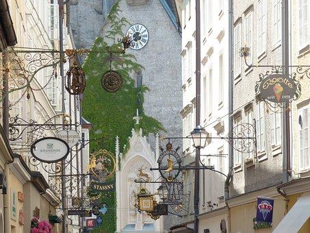 Getreidegasse, Salzburg, Alley, Road, Winding