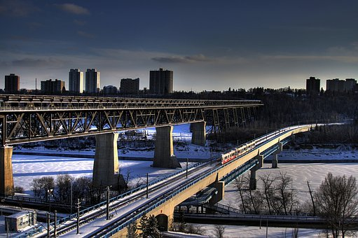 Edmonton, Canada, Bridge, Bridges, Buildings, River