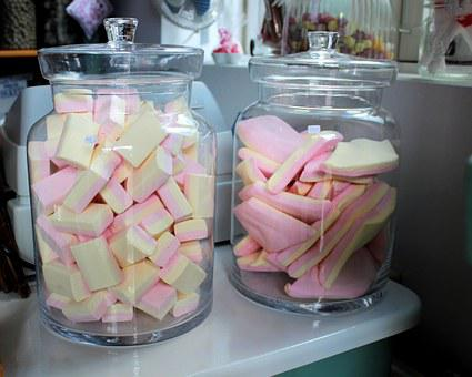 Candy, Sweet Shop, Glass Jars, Pink, Yellow, Sweets