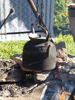 Fire, Cauldron, Grass, Garden, Mat, Wood