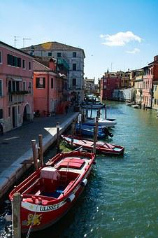 Channel, Boats, Water, Italy, Homes, Sea, Chioggia