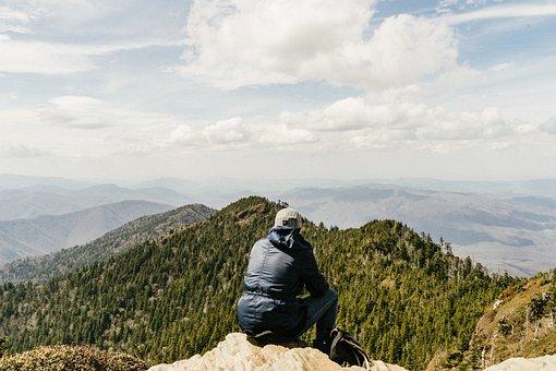 Adventure, Clouds, Landscape, Man, Mountain Range