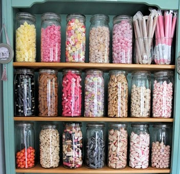 Candy, Sweet Shop, Glass Jars, Sweets, Colorful, Treats