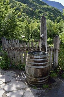 Fountain, Wooden Barrels, Garden, Water Tank