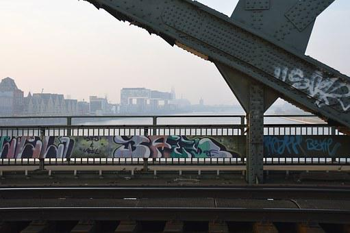 Cologne, Bridge, Railway, Crane Homes, Haze, Rhine
