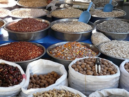 Nuts, Seeds, Grains, Market, Selection, Offer, Bags