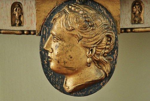 Head, Portrait, Woman's Head, Carving, Art, Antique