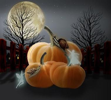Pumpkins, Hallowenn, Night, Digital Art