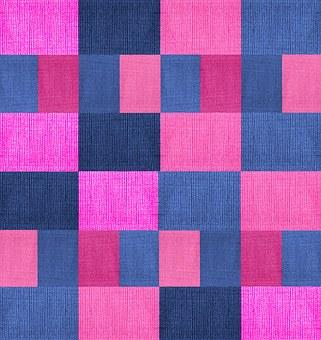 Textile, Fabric, Texture, Geometric, Blue, Purple, Pink