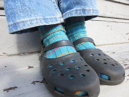 Hand, Knit, Knitting, Socks, Ribbing, Ribbed, Blue
