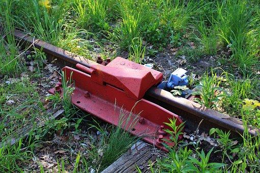 Derailer, Scotch Block, Tracks, Railway, Stop
