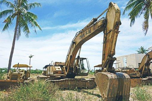 Construction, Vehicles, Excavator, Crawler, Abandoned