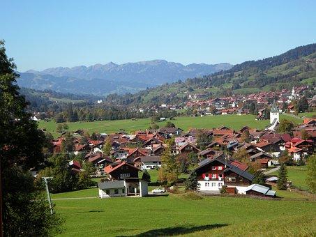 Bad Oberdorf, Village, Allgäu, Outlook, Mountains