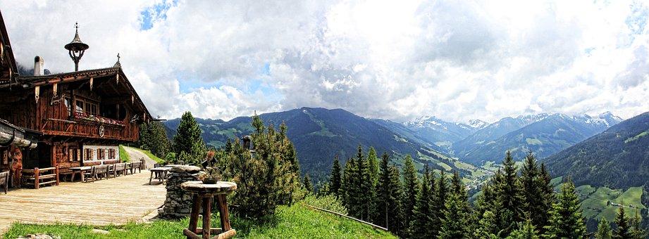 Alm, Mountains, Austria, Alpbach Valley, View, Panorama