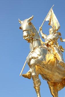 Joan Of Arc, Gold, Statue, Arc, Joan, Horse, Sculpture