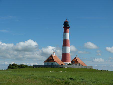 Lighthouse, Westerhever, Sky, Holiday, North Sea, Blue