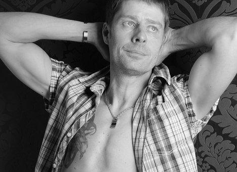 Man, Body, Tattoo, Breast, Black And White, Naked, Skin