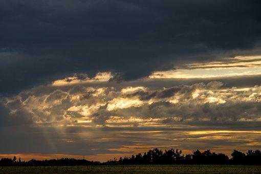 Alberta, Sunset, Canada, Storm, Cloud, Sunshine, Haze