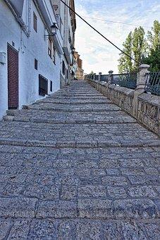Steps, Lane, Cobblestones, Alcala Del Jucar, Village