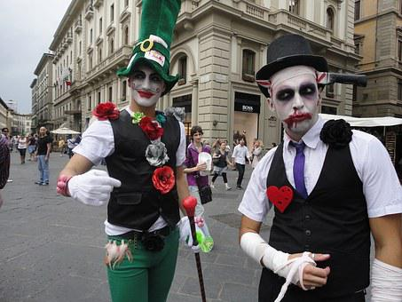 Street Mimes, Florence, Italy, Street, Costume, Zombie