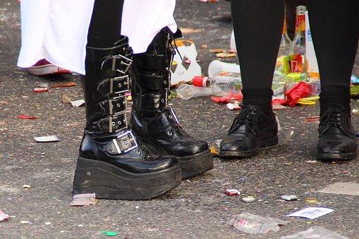 Platform Shoes, Shoes, Costume, Girl, Panel, Garbage