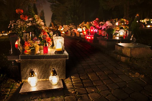 Cemetery, Dark, Night, Candles, Monument Of Deceased