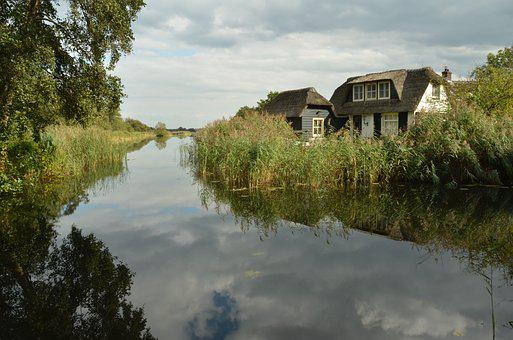 House, Home, Water, Ditch, Bank, Reflection, Cloud