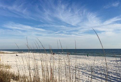 Beach, Sky, Clouds, Formations, Sand, White, Blue