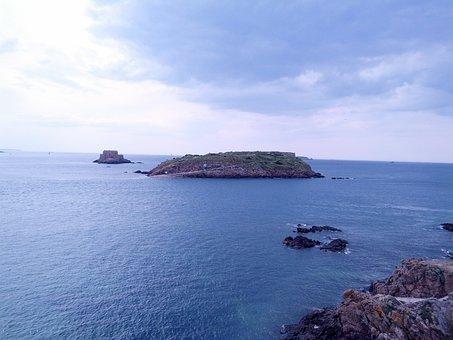 Island, Peninsula, Brittany, France, High Tide, Blue