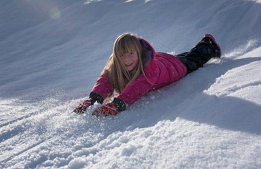 Child, Girl, Winter, Snow, Slip, Fun, Joy, Out, Nature