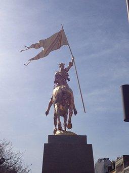 Statue, Flag, Joan Of Arc, Golden Statue, Folk Heroine