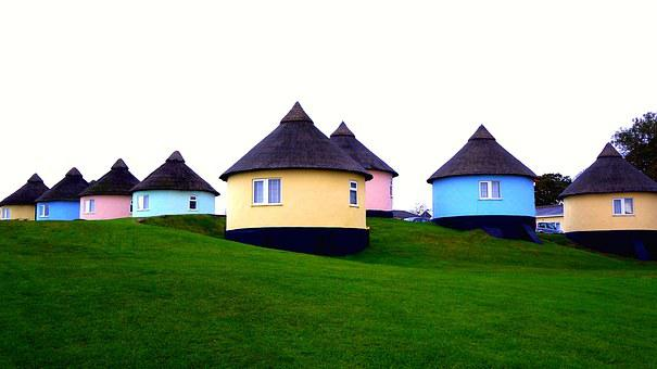 Holiday, Home, House, Grass, Blue, Yellow, Outdoors