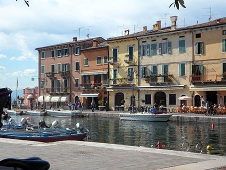 Garda, Lazise, Italy, Port, Lago, Lake, Row Of Houses