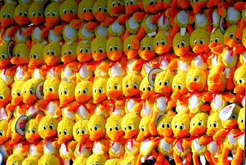 Ducks, Stuffed, Animals, Birds, Yellow, Orange, Toys