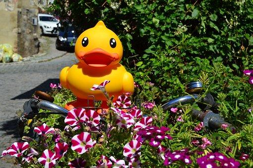 Plastic Toys, Yellow Duck, Duck, Flowers, Bike