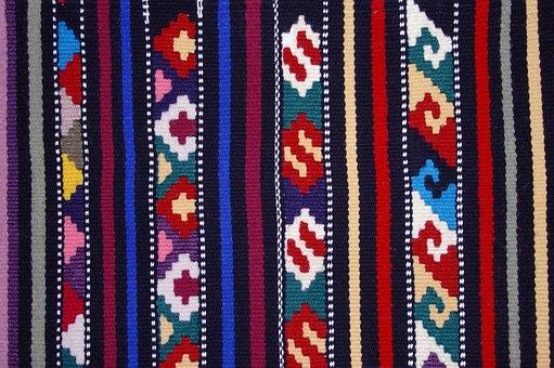 Textiles, Etno, Tkanica, Raster, Colors, Blue, Red