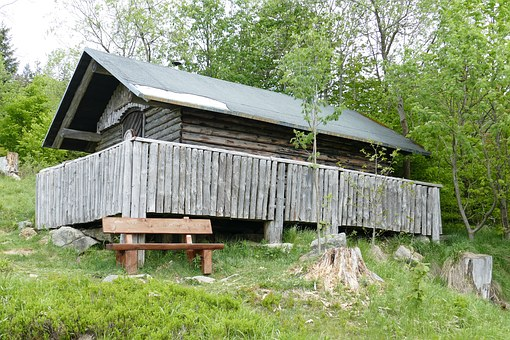 Mountain Hut, Wood, Old, Forest, Rest, Rehberger Moat