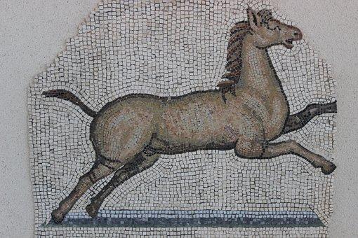 Antique, Mosaic, Rome, Vestige, Archaeology, Horse