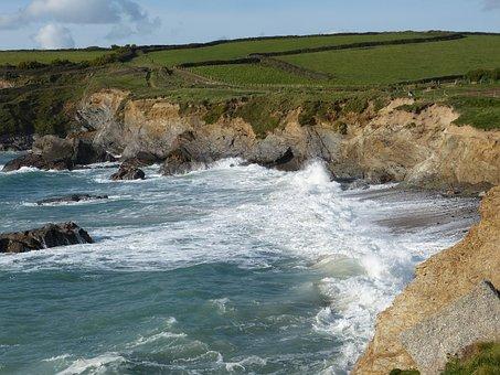 Rocks, Coastline, Cornwall, Sea, Wave, Shore, High Tide