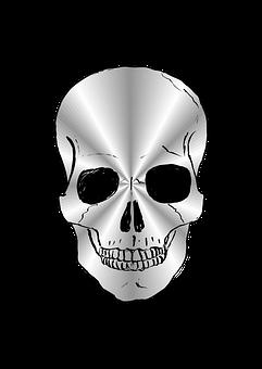 Skull, Silver, Silver-plated, Vector, Illustration